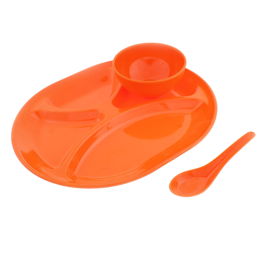Restaurant Oval Shaped 4 Compartments Divided Plate Bowl Spoon Orangered 3 in 1