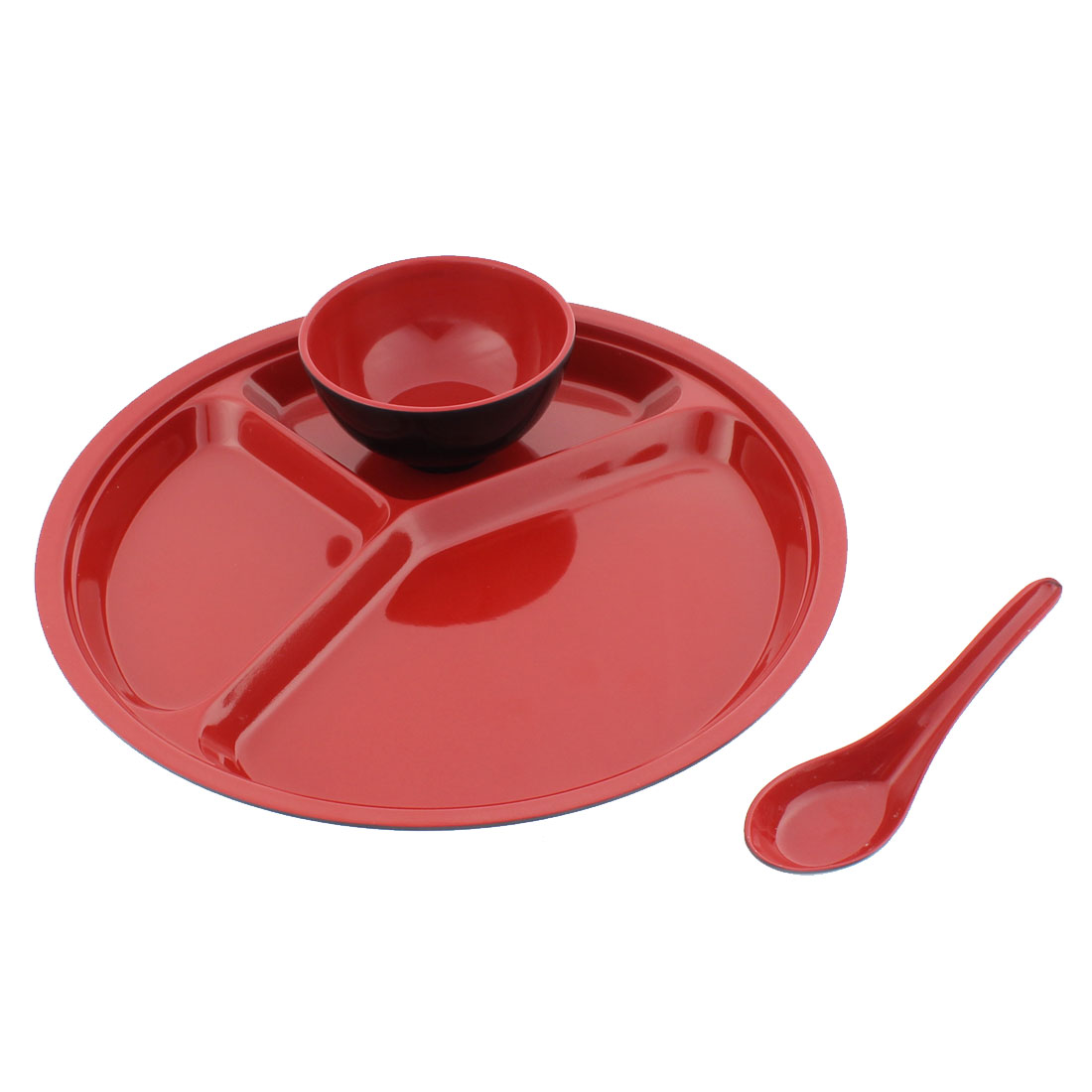 School Restaurant Plastic 3 Compartments Divided Plate Tray Bowl Spoon 3 in 1