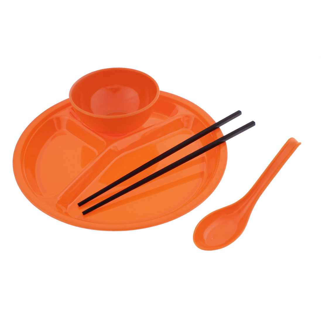 School Canteen Plastic Bowl Chopsticks Spoon 3 Sections Divided Plate Orange 4 in 1