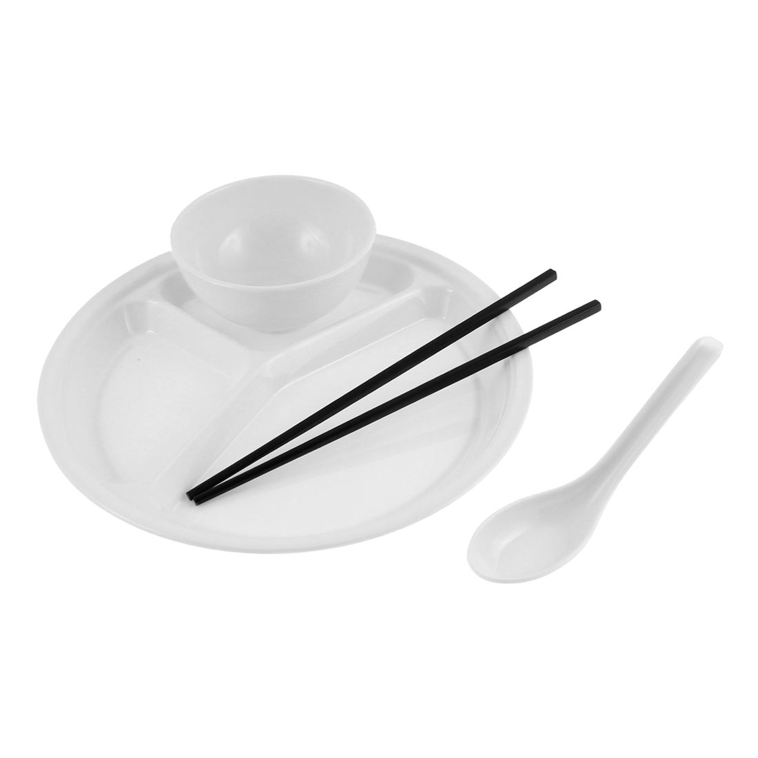 School Canteen Plastic Bowl Chopsticks Spoon 3 Compartment Divided Plate White 4 in 1