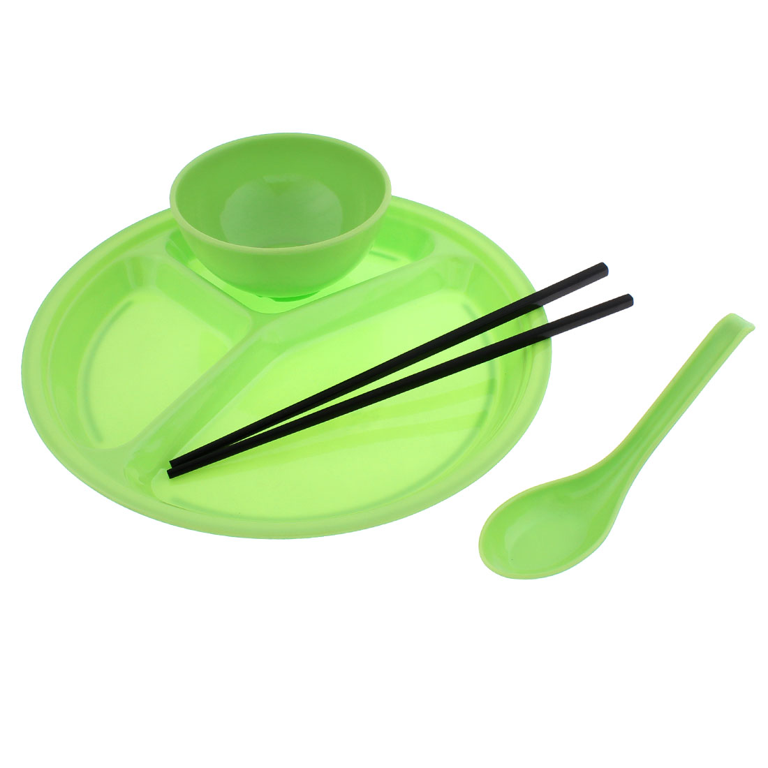 Restaurant School Plastic Bowl Chopsticks Spoon 3 Parts Divided Plate Green 4 in 1