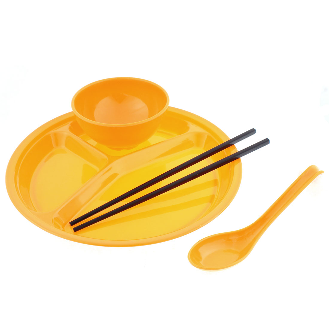 School Canteen Bowl Chopsticks Spoon 3 Sections Divided Plate Yellow 4 in 1