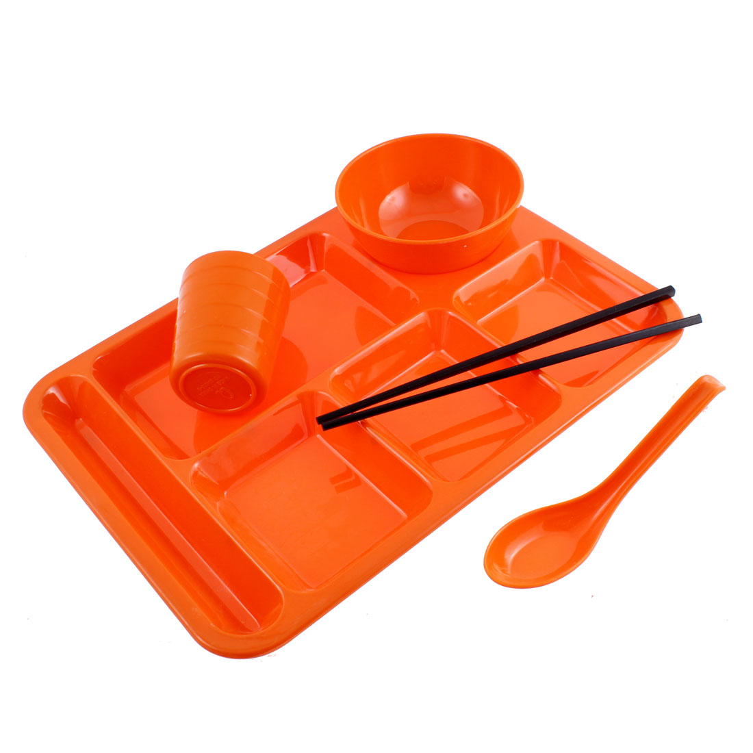School 6 Compartments Divided Plate Bowl Spoon Chopsticks Cup Orangered 5 in 1