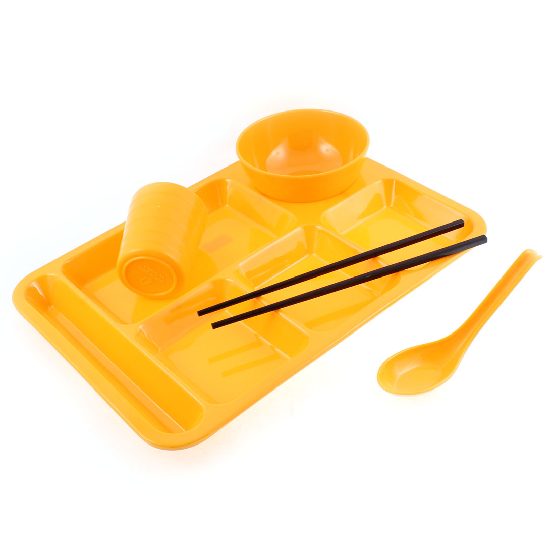 School Restaurant 6 Compartments Divided Plate Bowl Spoon Chopsticks Cup Orange 5 in 1