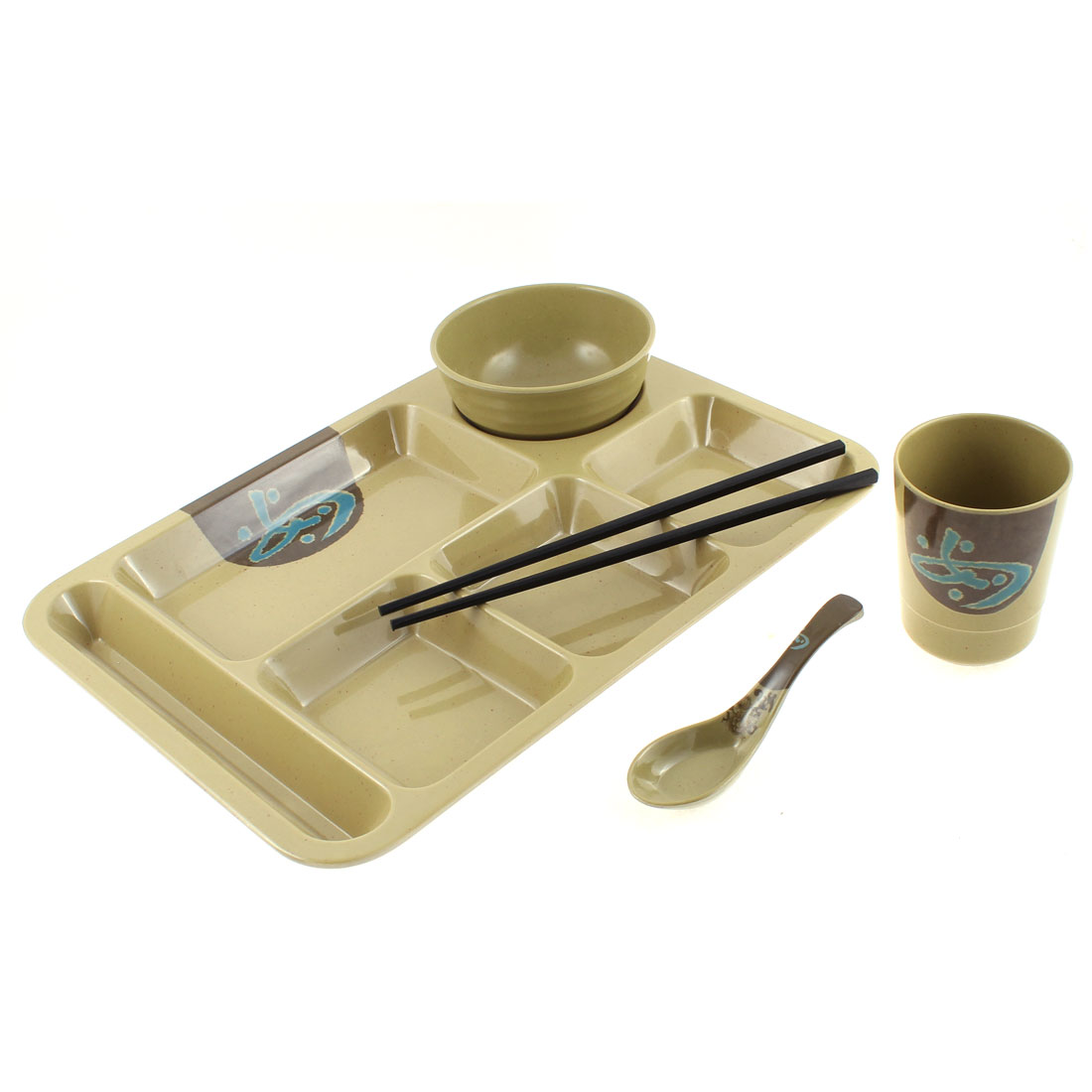 School Canteen Bowl Cup Chopsticks Spoon 6 Sections Divided Plate 5 in 1