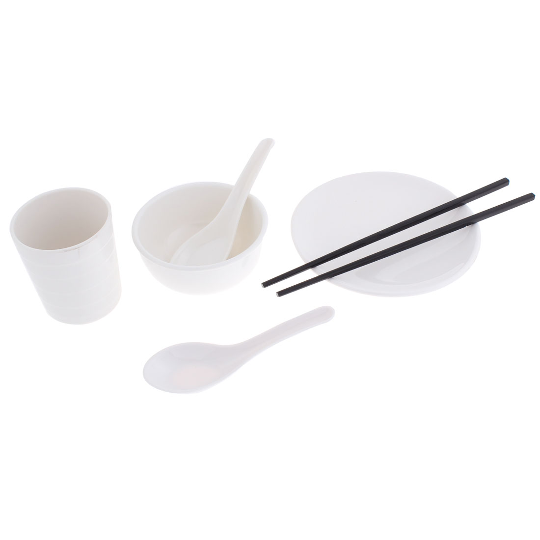 Restaurant Table Spoon Chopsticks Cup Dish Rice Bowl White 6 in 1