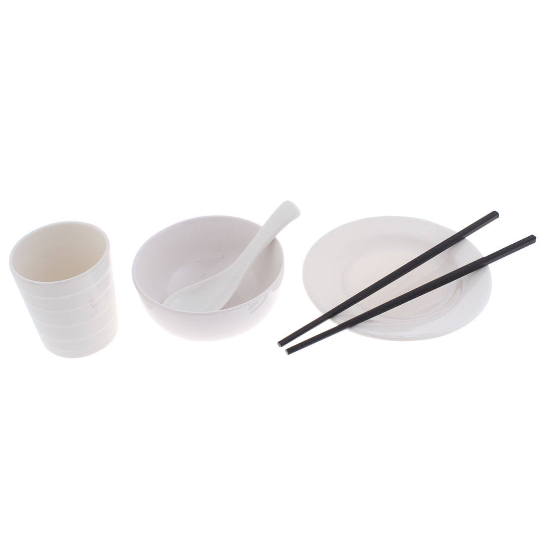 Restaurant Table Plastic Spoon Chopsticks Cup Dish Rice Bowl 5 in 1
