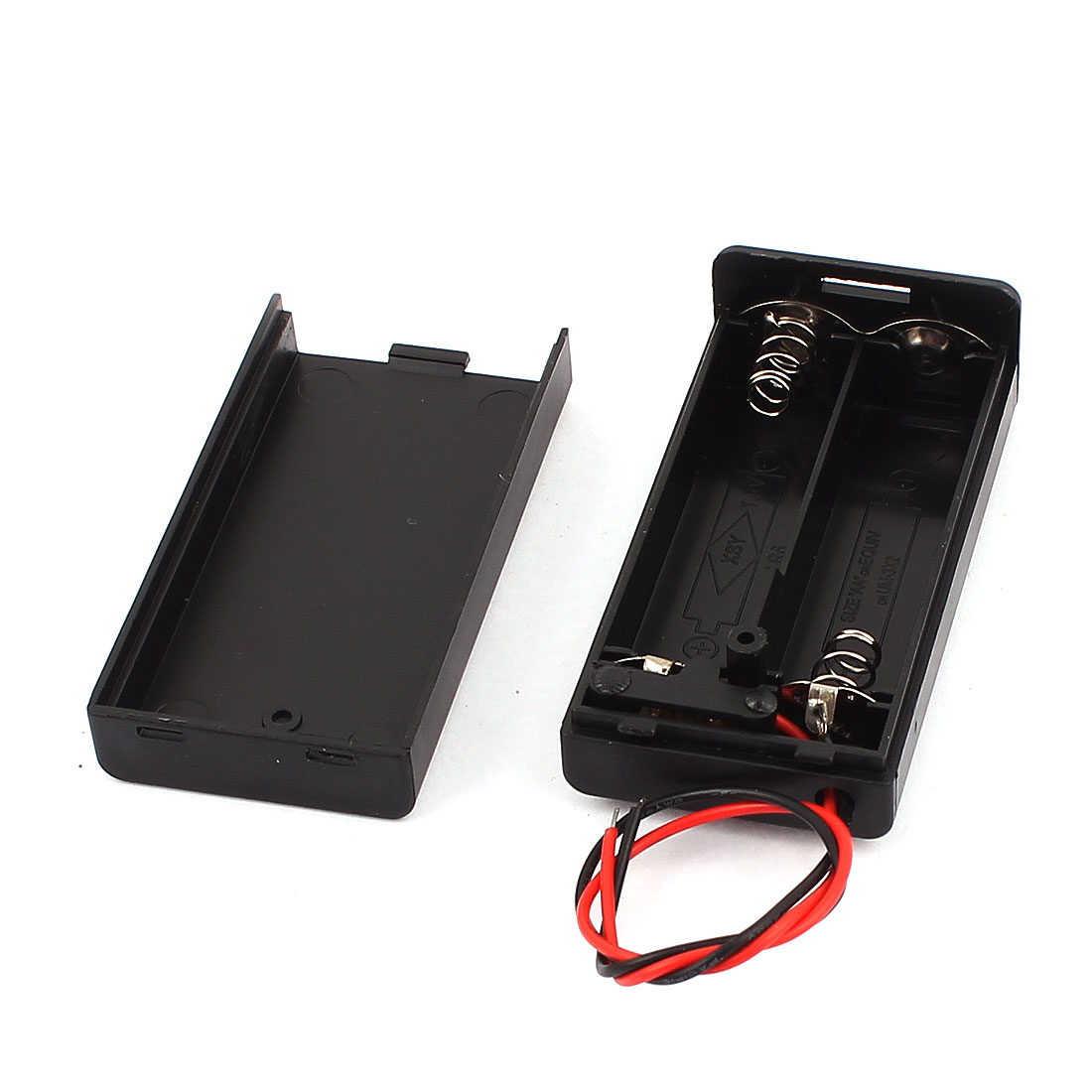 Black Plastic Housing ON/OFF Switch 2x1.5V AA Battery Holder Storage Container Case Box
