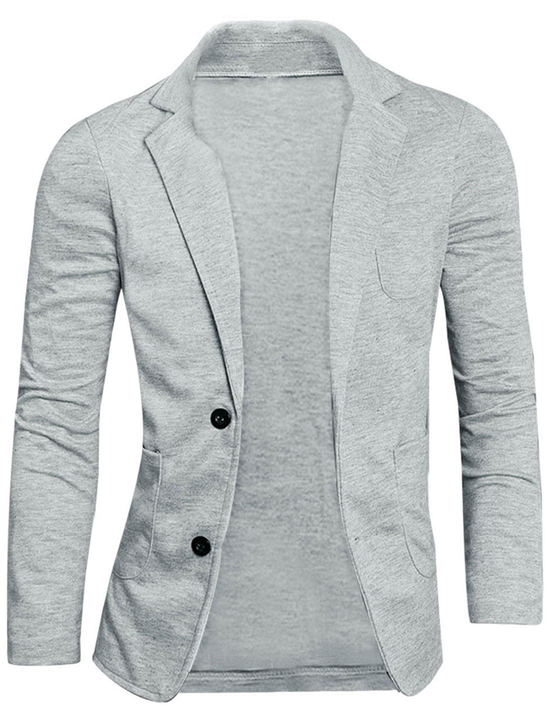Men Classic Notched Lapel Two-Button Blazer Gray L