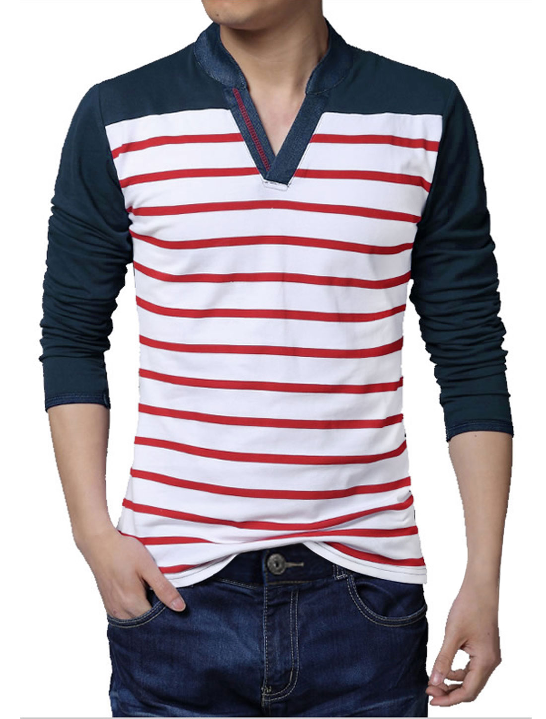 Men Long Sleeves Color Block Denim Panel Stripes Top Red S