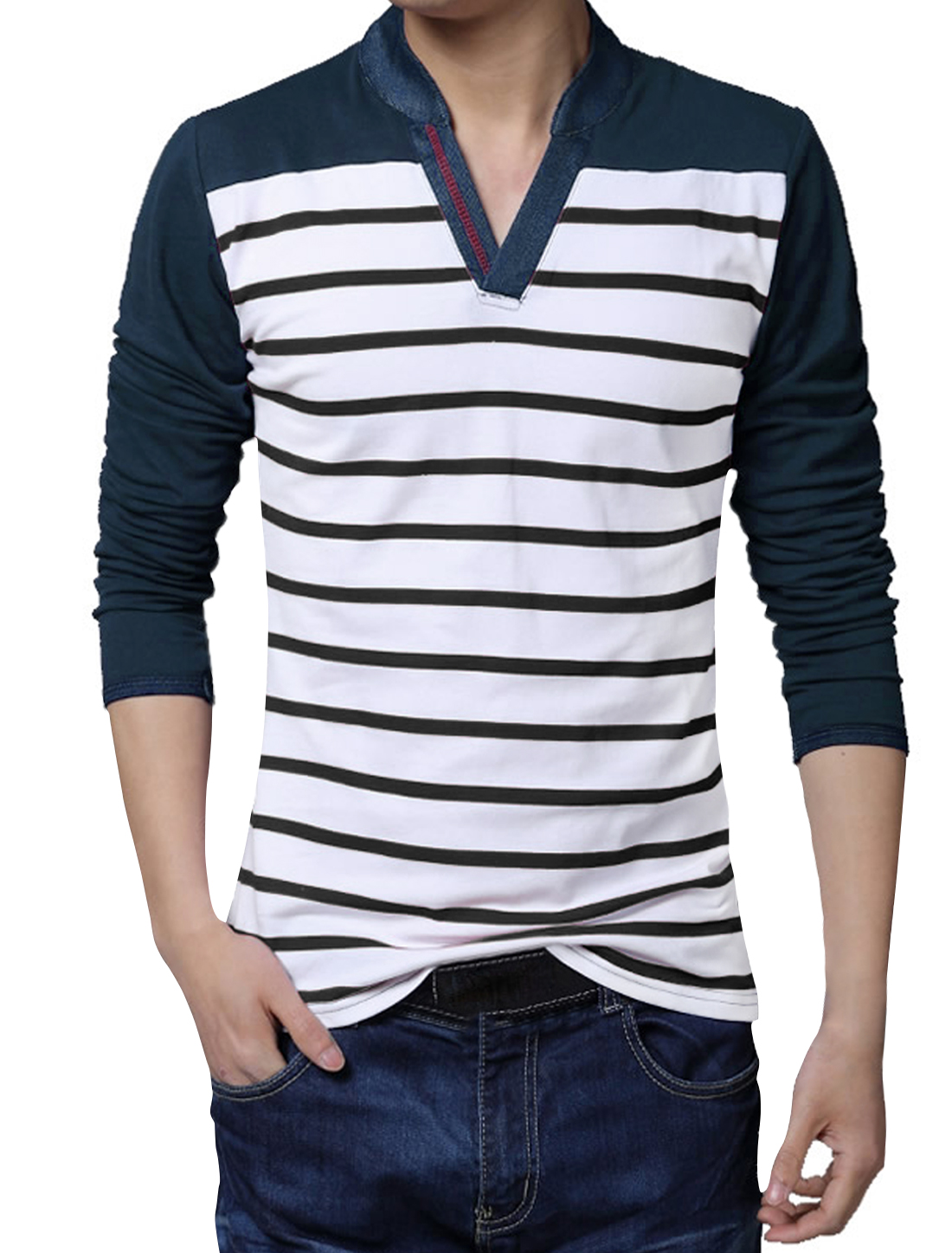 Men Long Sleeves Color Block Denim Panel Stripes Top Blue S