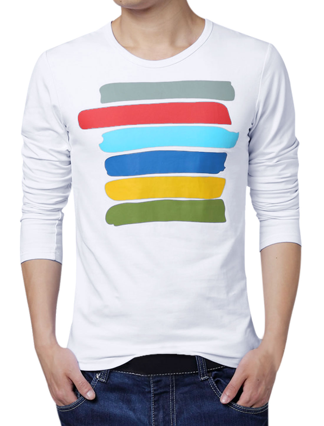 Men Colorful Stripes Long Sleeves T-Shirt White S