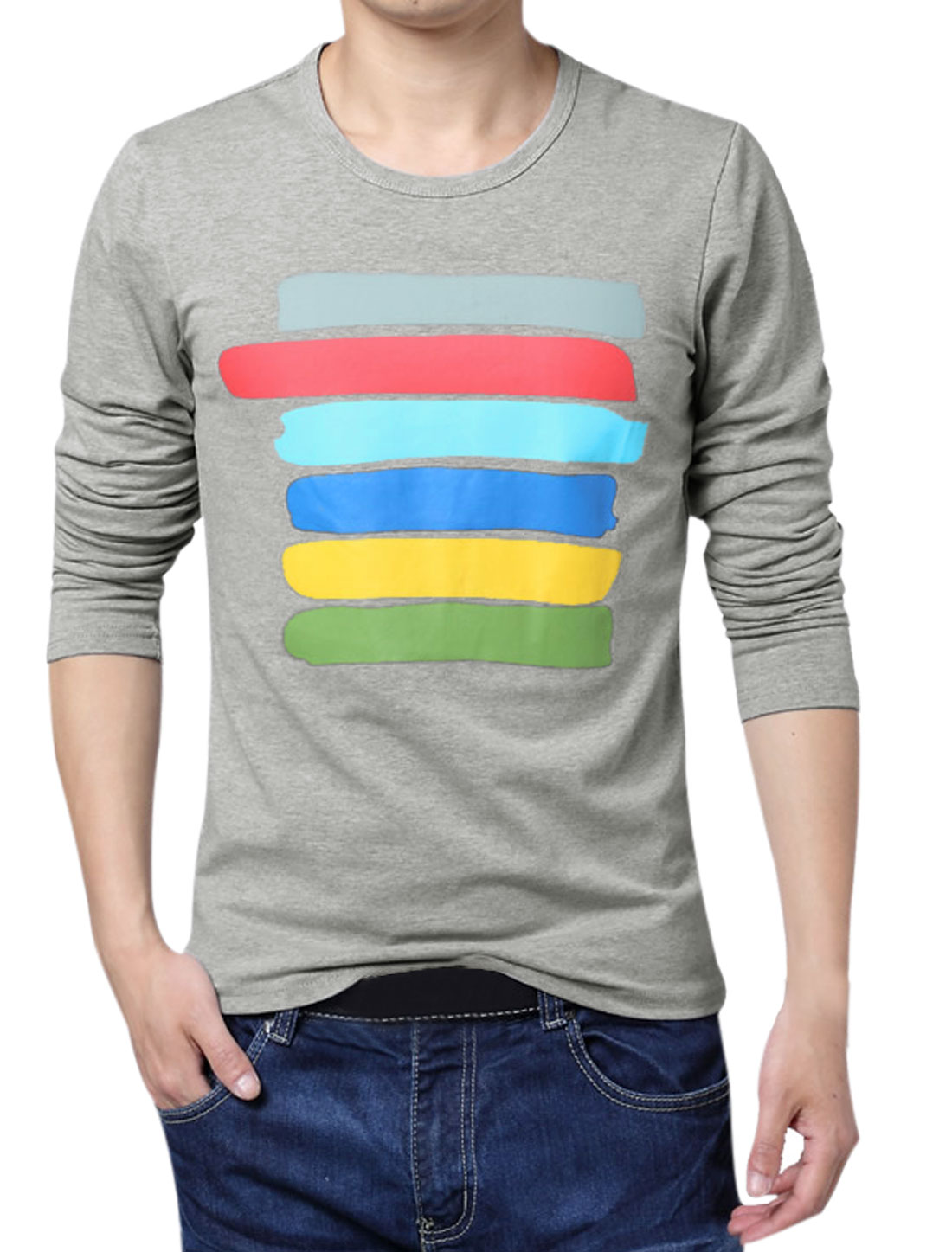 Men Colorful Stripes Long Sleeves T-Shirt Gray S