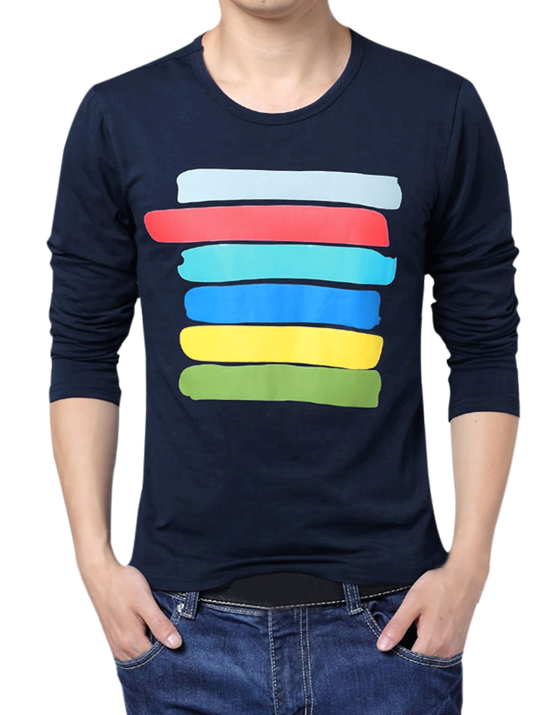 Men Colorful Stripes Long Sleeves T-Shirt Blue S