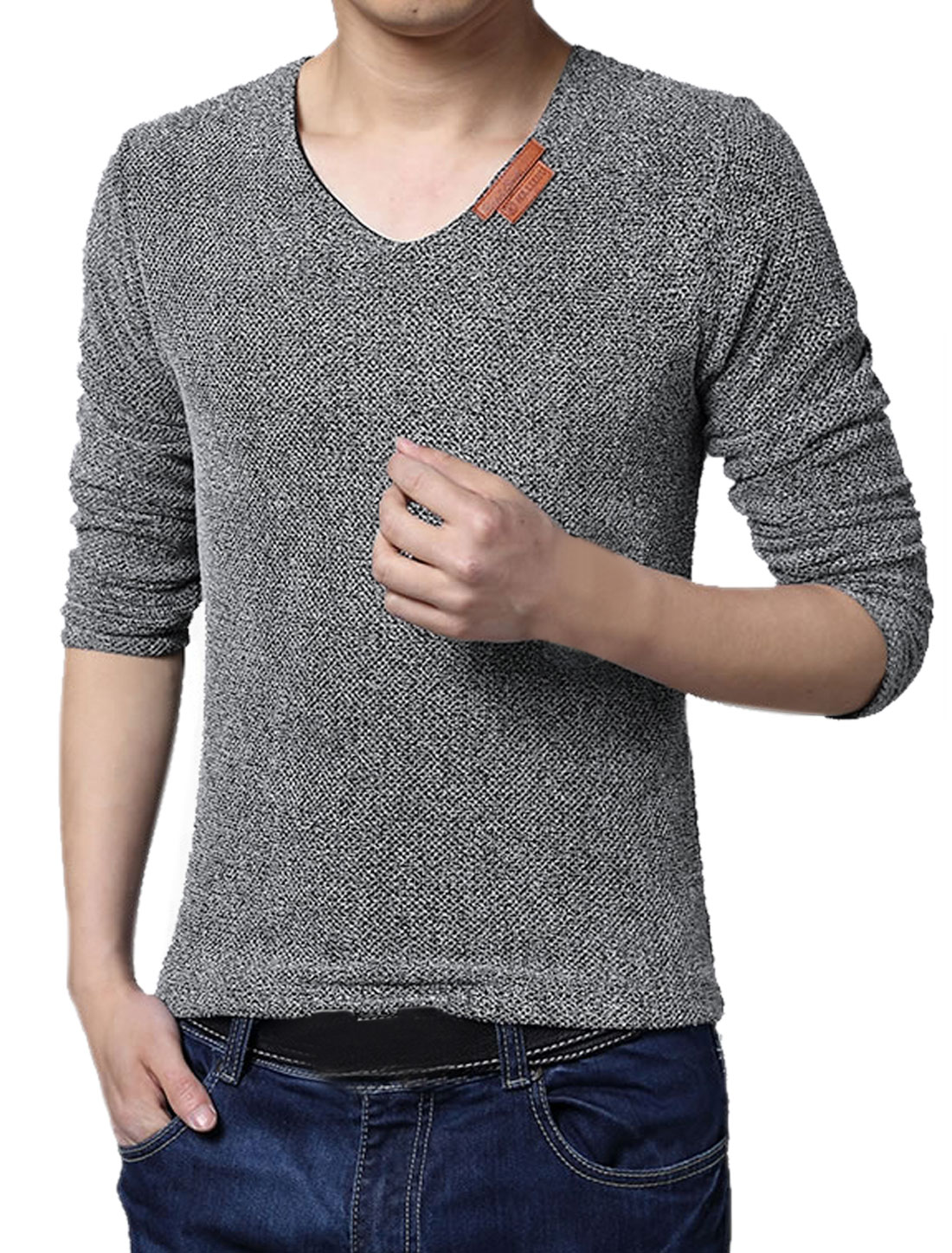 Men V Neck Long Sleeves Netted Mesh Tee Shirt Gray S