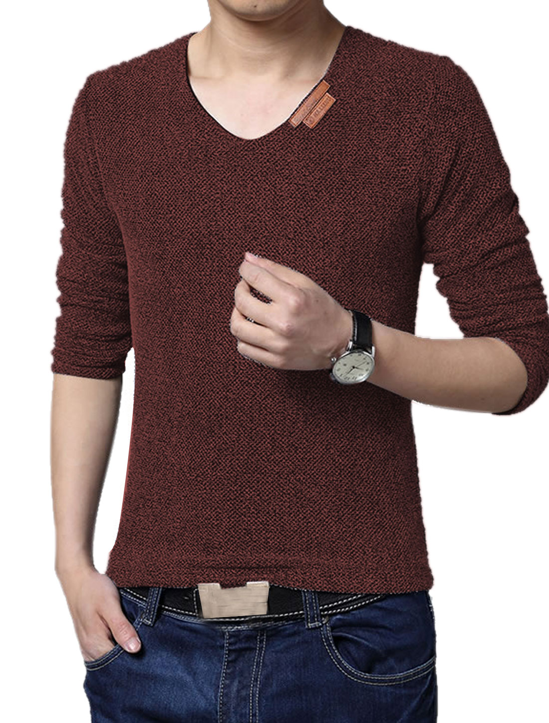 Men V Neck Long Sleeves Netted Mesh Tee Shirt Brown S