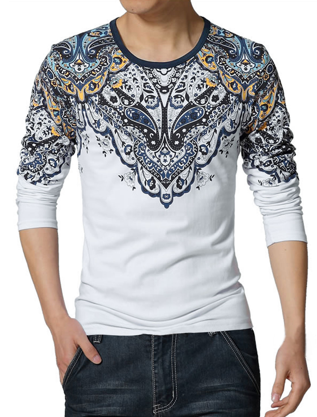 Men Long Sleeves Crew Neck Floral Tee Shirt White S