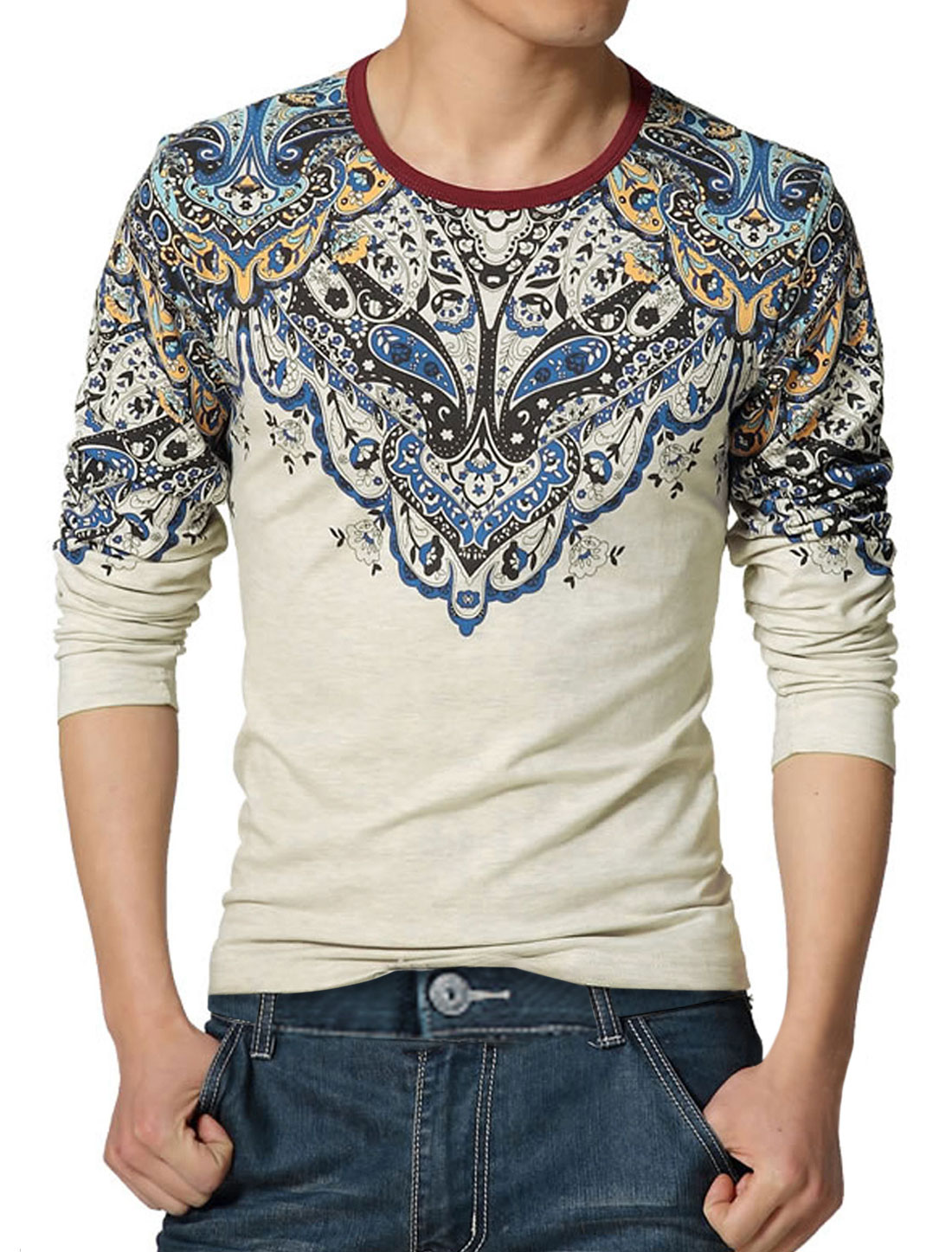 Men Long Sleeves Crew Neck Floral Tee Shirt Beige S