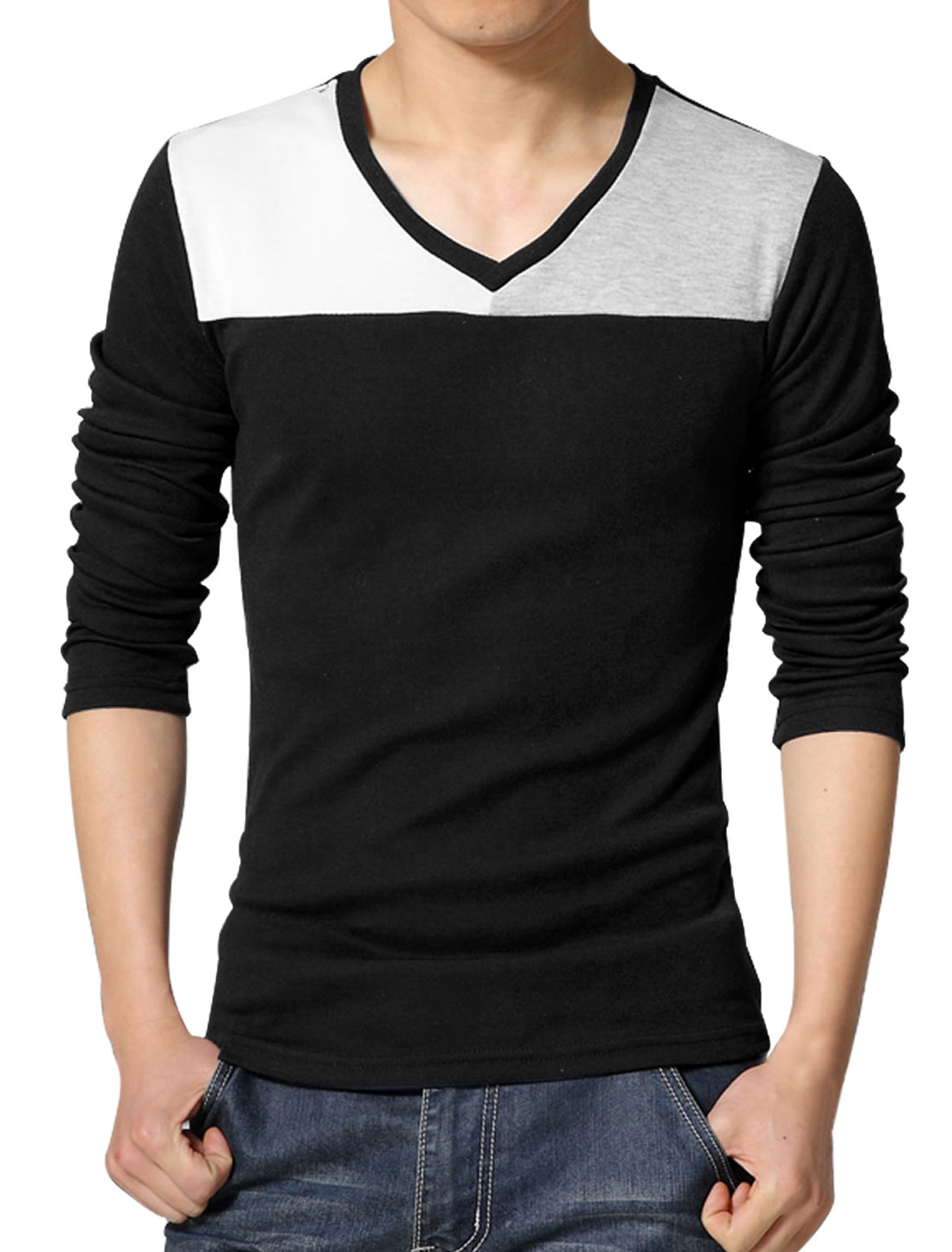 Men V Neck Long Sleeves Contrast Color T-Shirt Black S