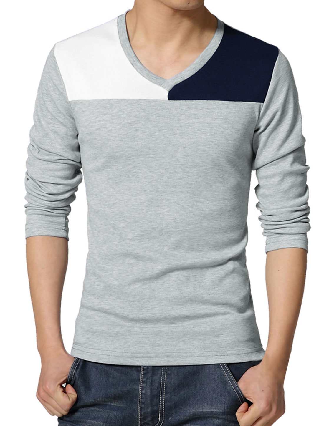 Men V Neck Long Sleeves Contrast Color T-Shirt Gray S