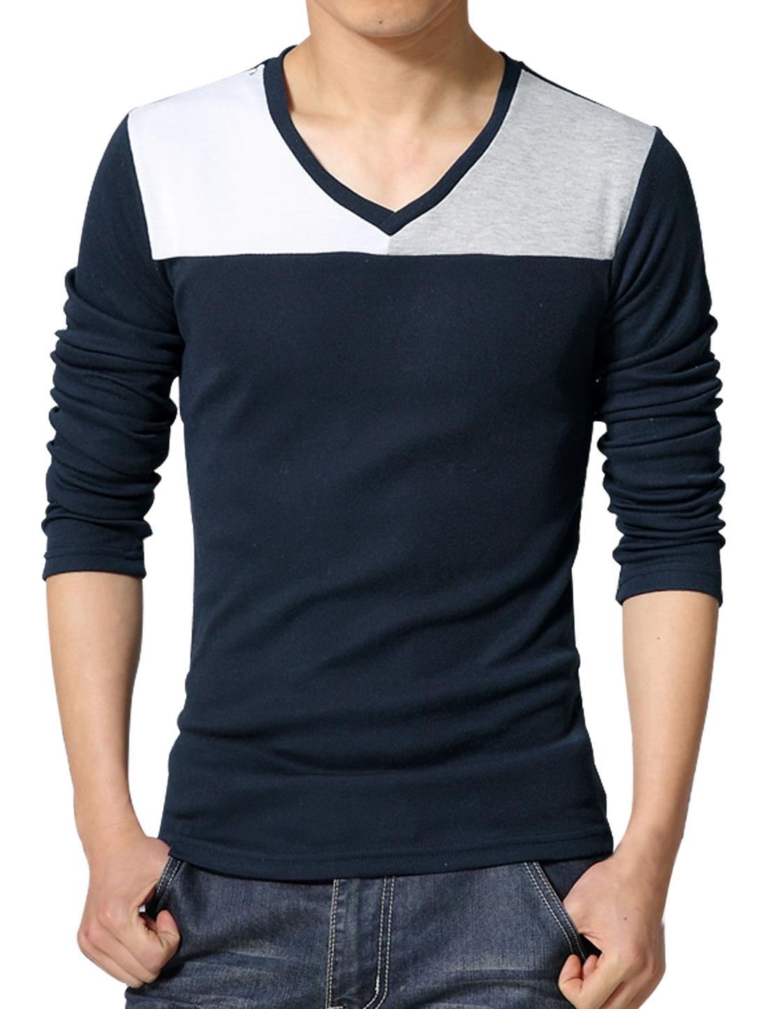 Men V Neck Long Sleeves Contrast Color T-Shirt Blue S
