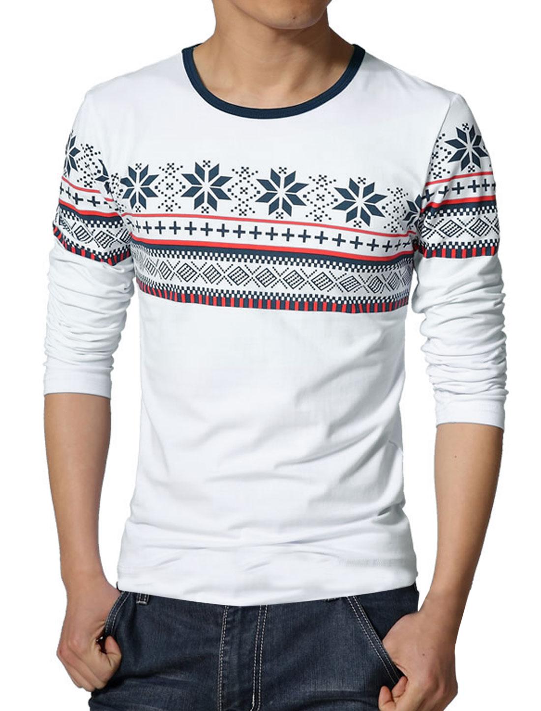 Men Long Sleeves Geometric Tee Shirts White S