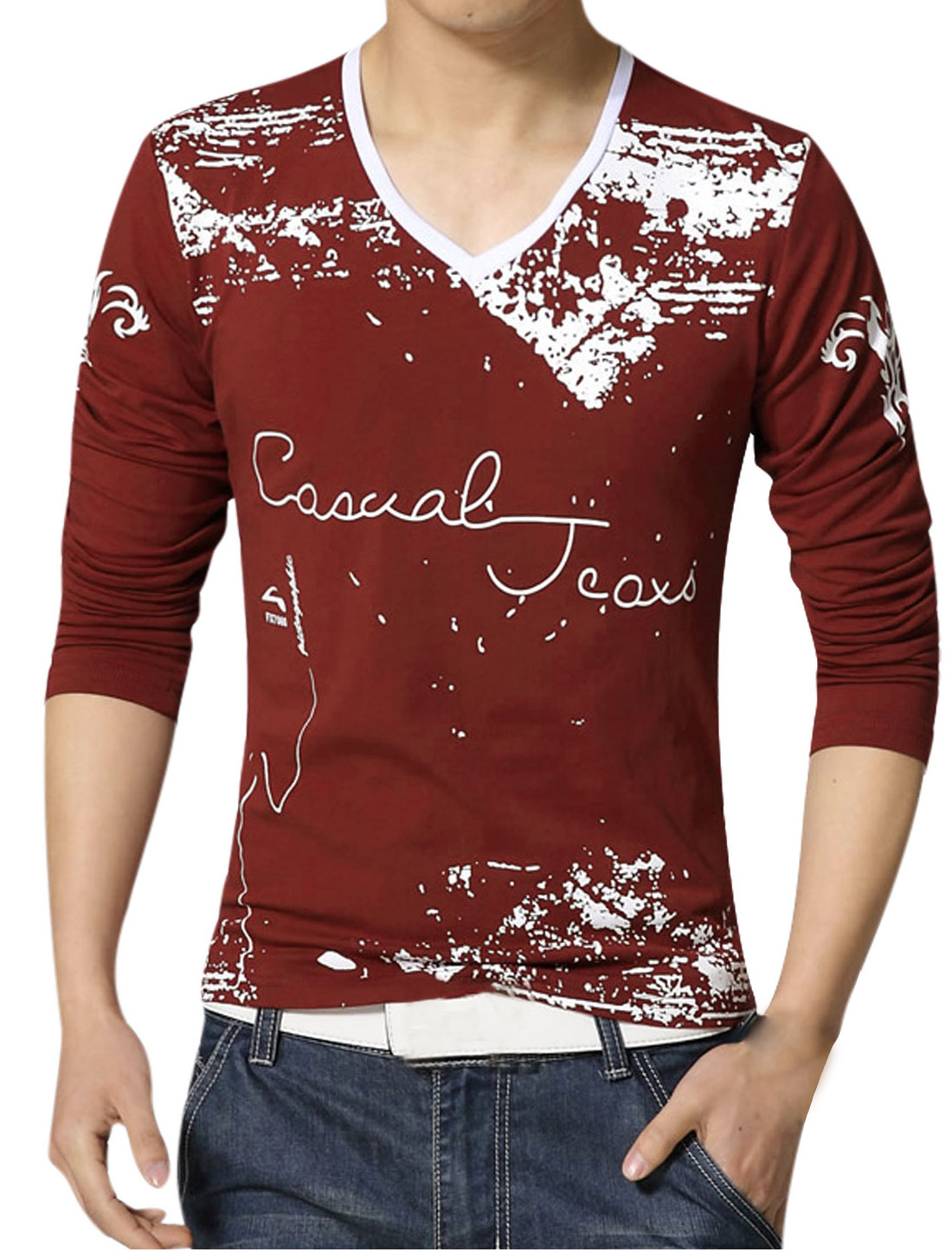 Men V Neck Novelty Prints Long Sleeves Slim Fit T-Shirt Red M