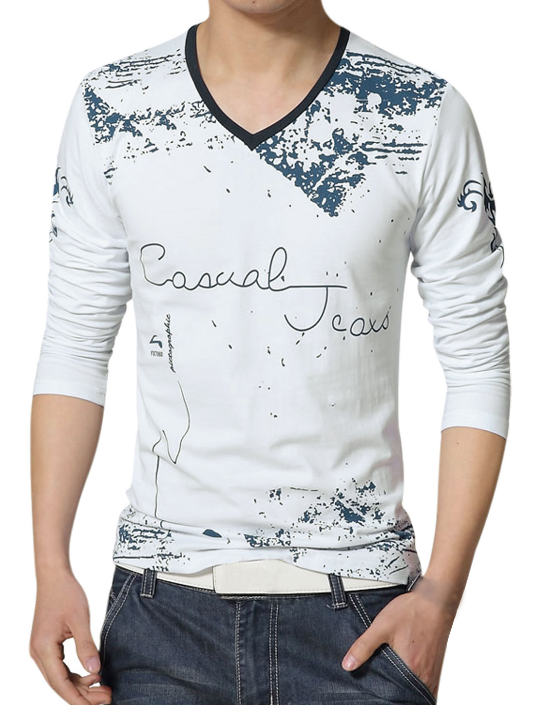 Men V Neck Novelty Print Long Sleeves Slim Fit T-Shirt White M
