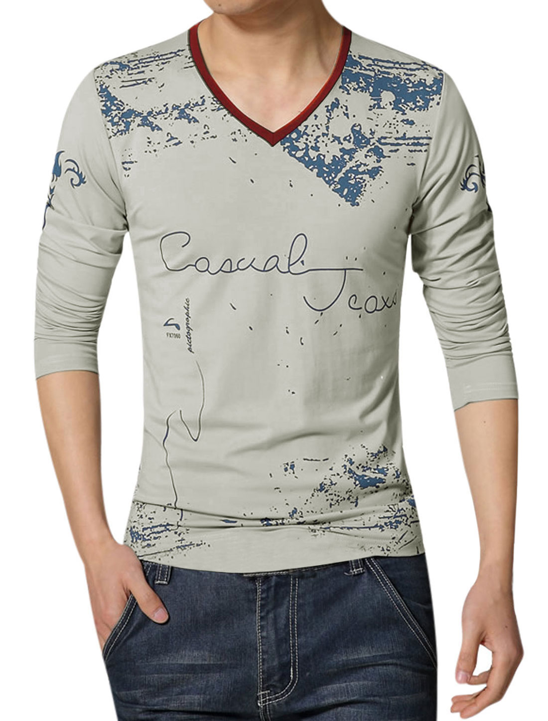 Men V Neck Novelty Prints Long Sleeves Slim Fit T-Shirt Gray M