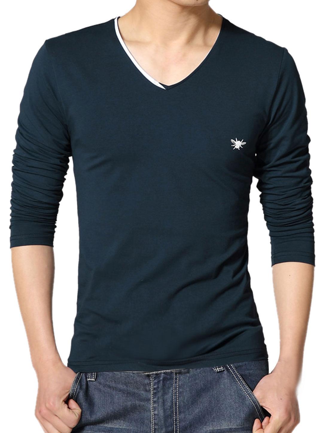 Men V Neck Long Sleeves Slim Fit Tee Shirt Blue S