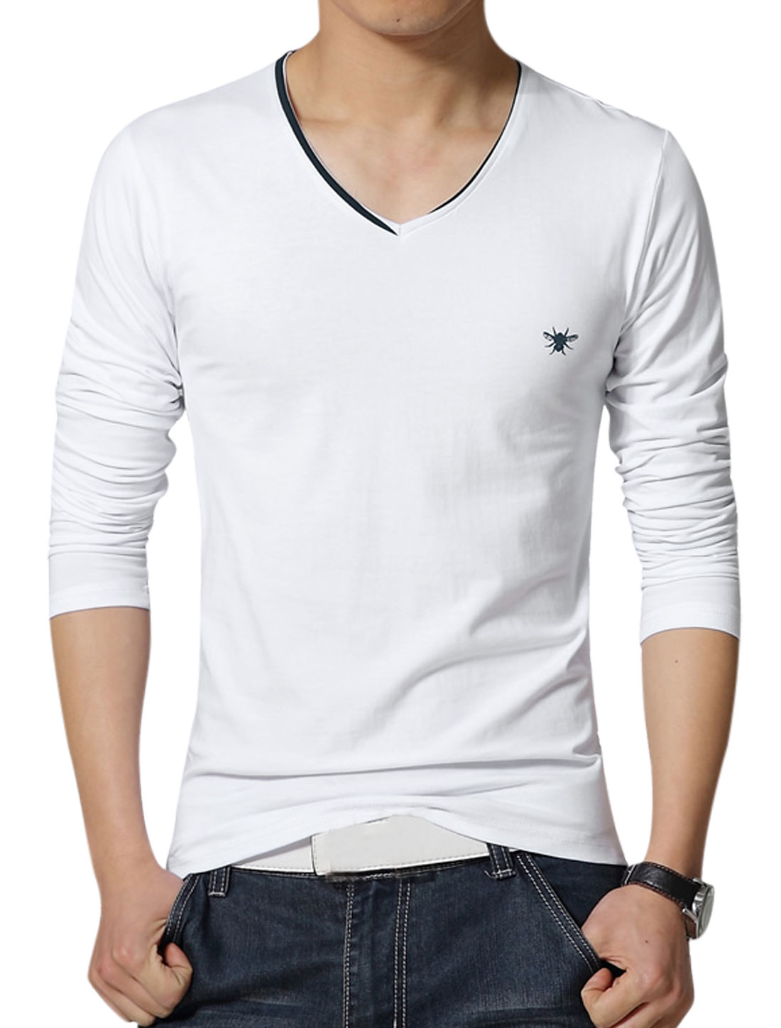 Men V Neck Long Sleeves Slim Fit Tee Shirt White S