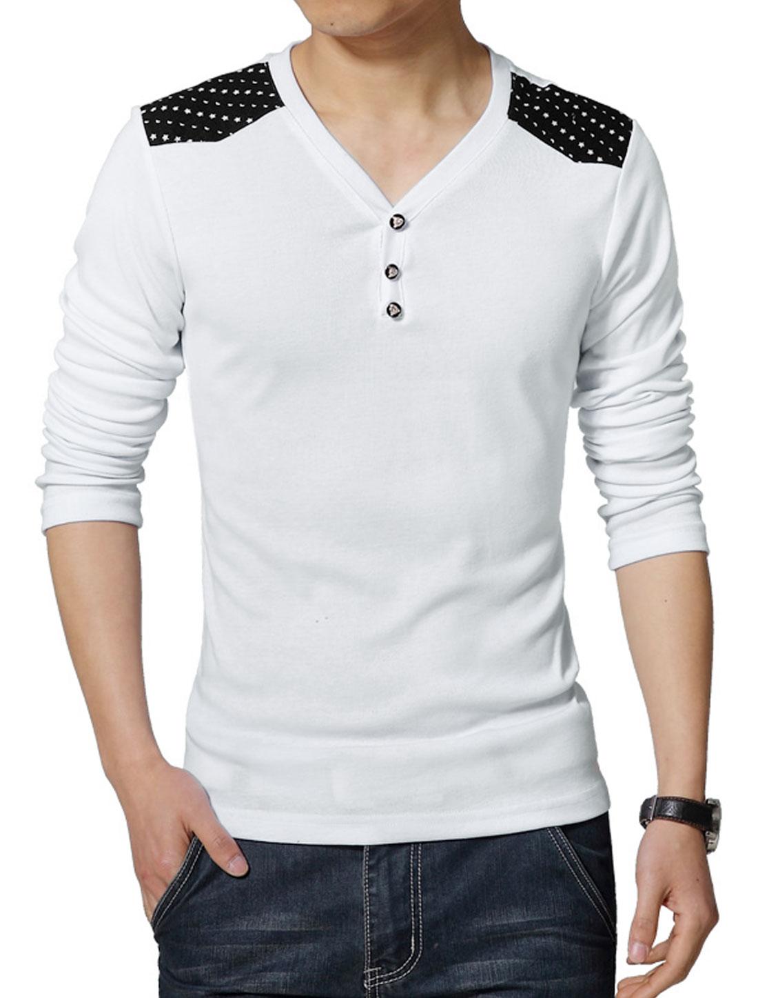 Men V Neck Long Sleeves Stars Moon T-Shirt White S