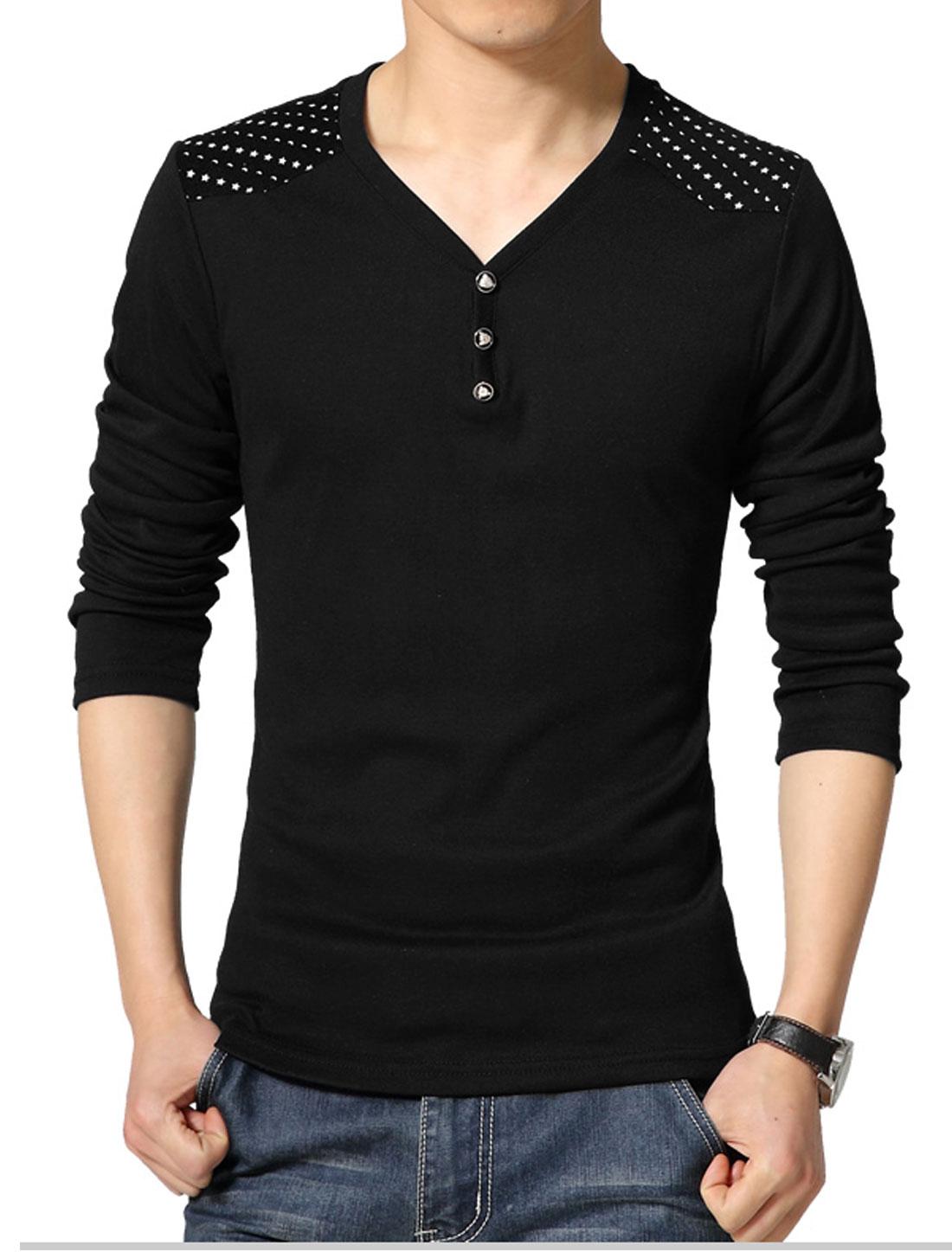 Men V Neck Long Sleeves Stars Moon T-Shirt Black S