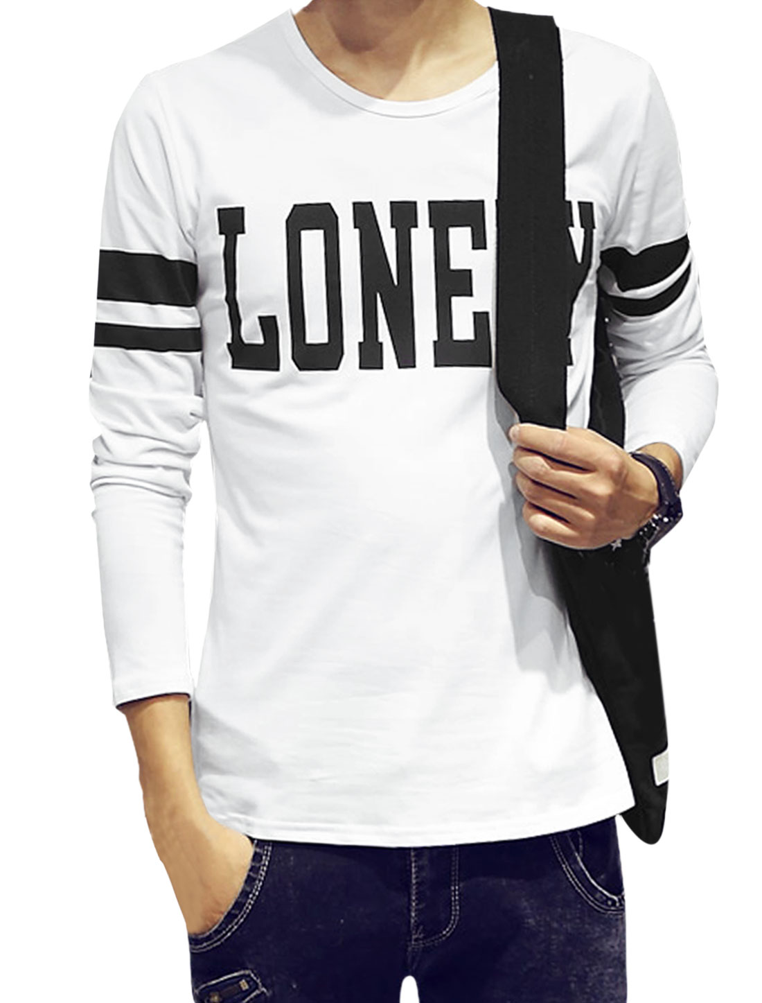 Men Long Sleeves Letters Slim Fit T-Shirt White S