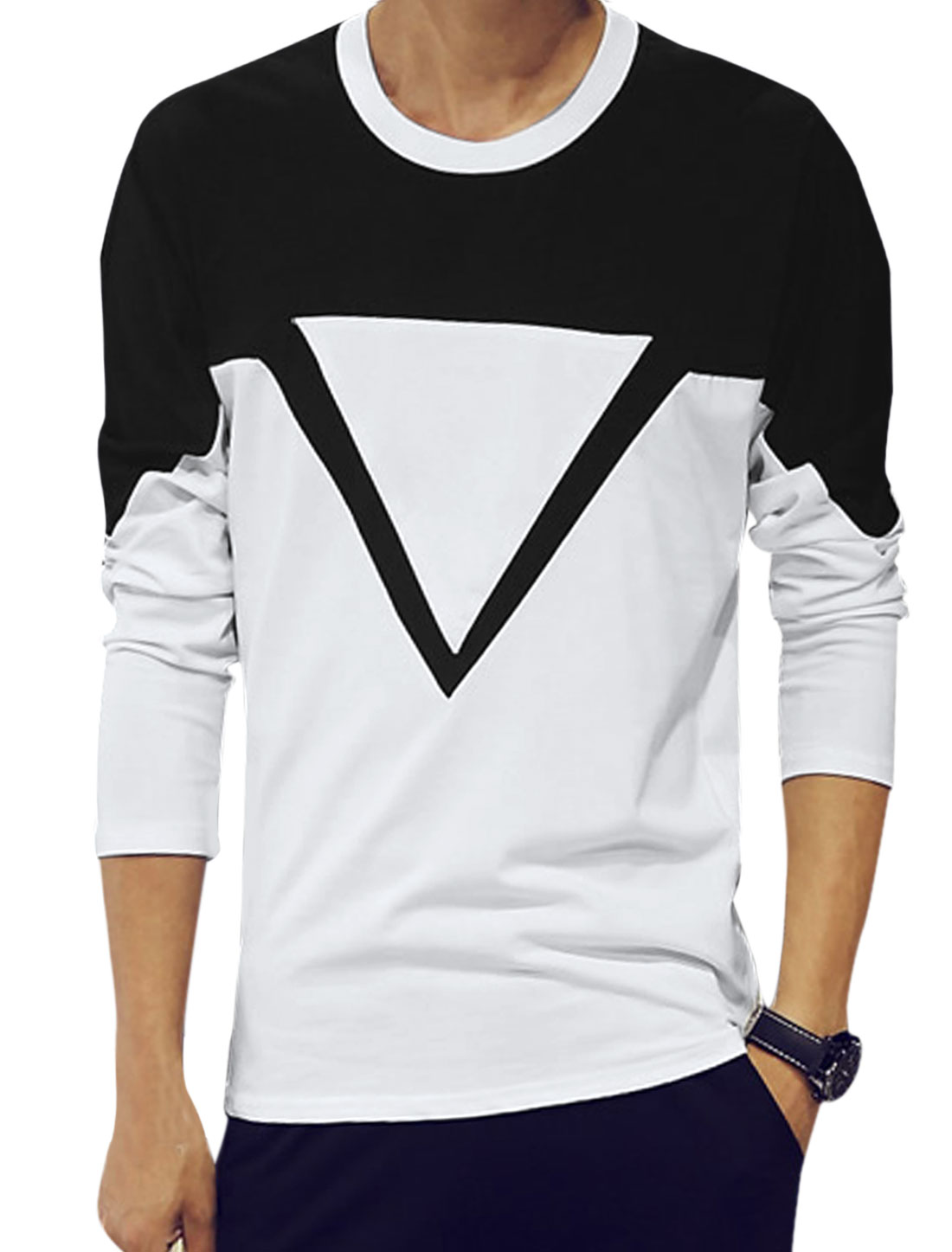 Men Long Sleeves Geometric Print Tee Shirt Black White S