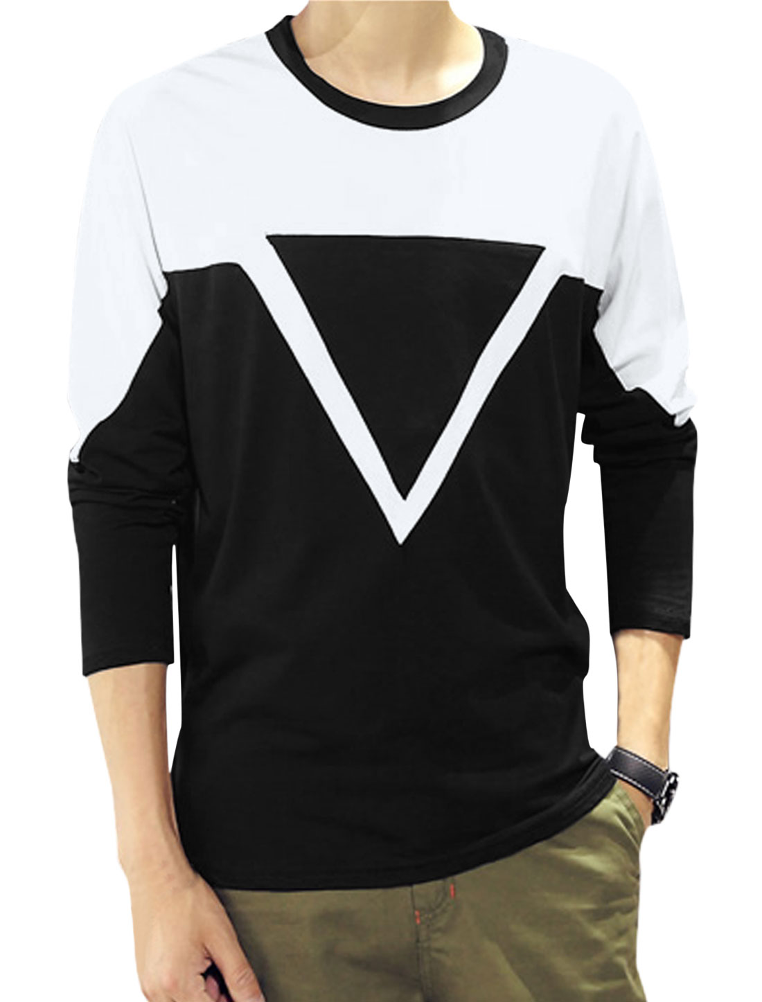 Men Long Sleeves Geometric Print Tee Shirt White Black S