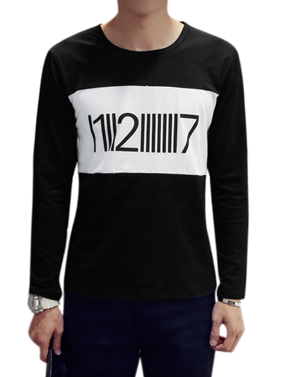 Men Long Sleeves Color Block Numbers Print T-Shirt Black S
