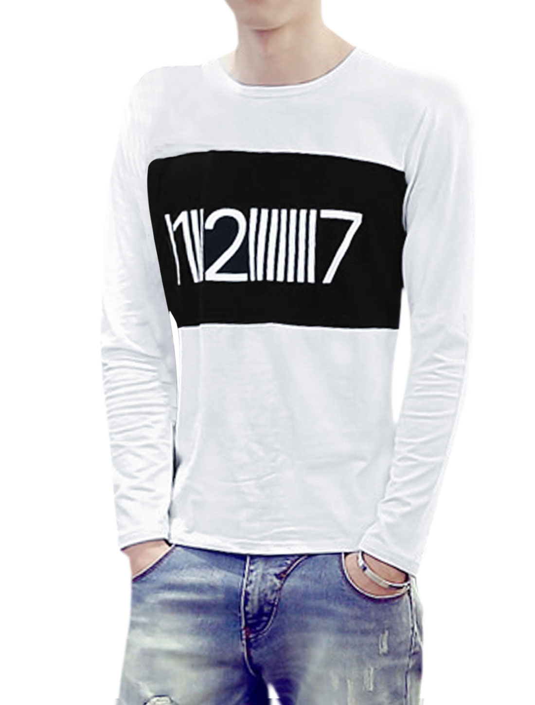 Men Long Sleeves Color Block Numbers Print T-Shirt White S
