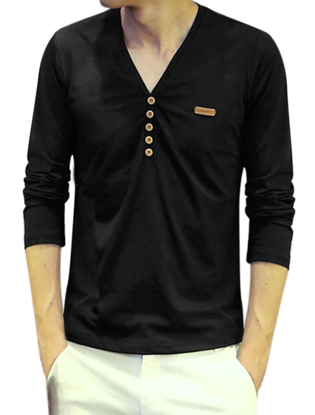 Men V Neck Long Sleeves Buttons Embellished Tee Shirt Black S