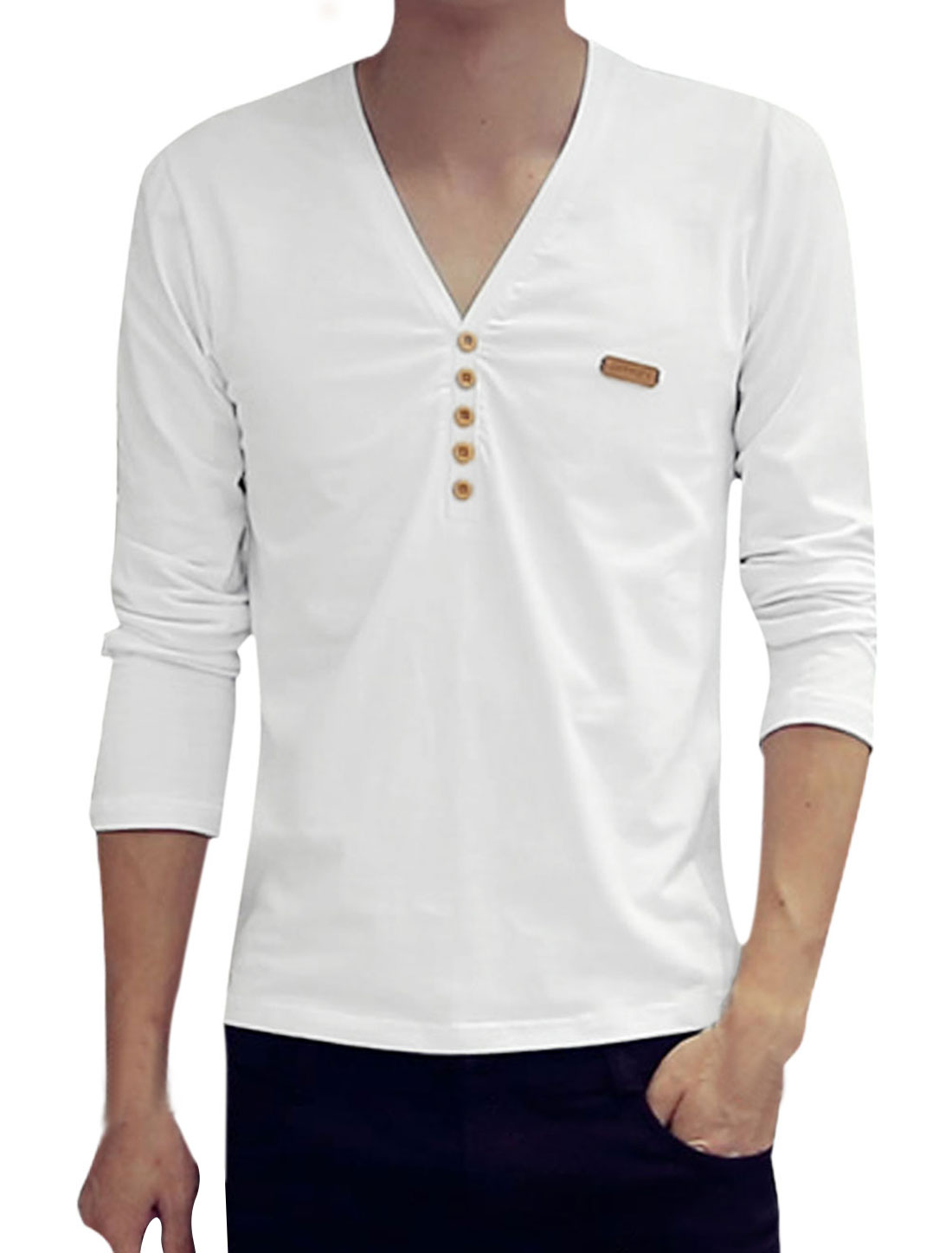 Men V Neck Long Sleeves Buttons Embellished Tee Shirt White S
