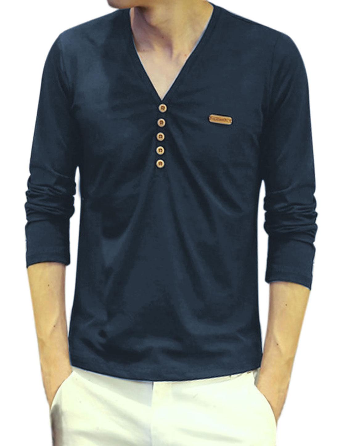 Men V Neck Long Sleeves Buttons Embellished Tee Shirt Blue S