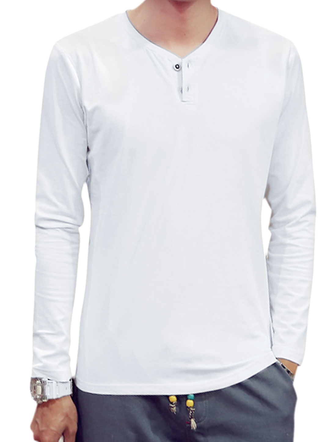 Men Y Neck Long Sleeves Slim Fit T-Shirt White S