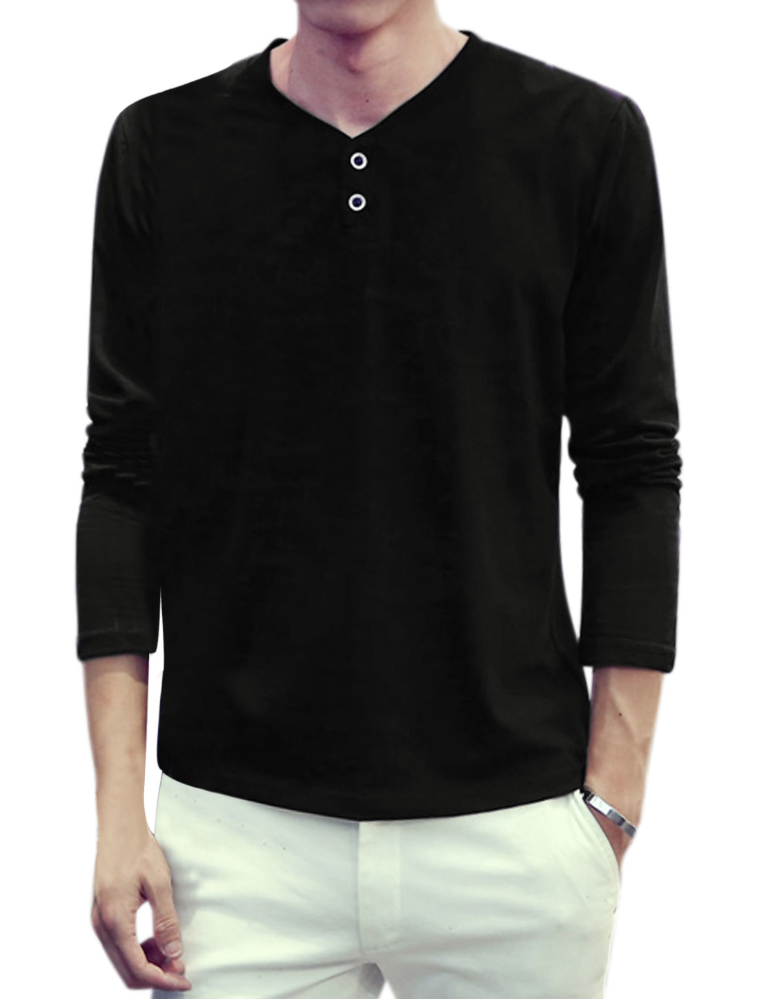Men Y Neck Long Sleeves Slim Fit T-Shirt Black S