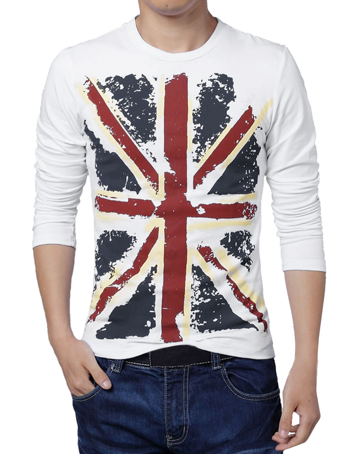 Men Long Sleeves Union Jack Slim Fit T-Shirt White S