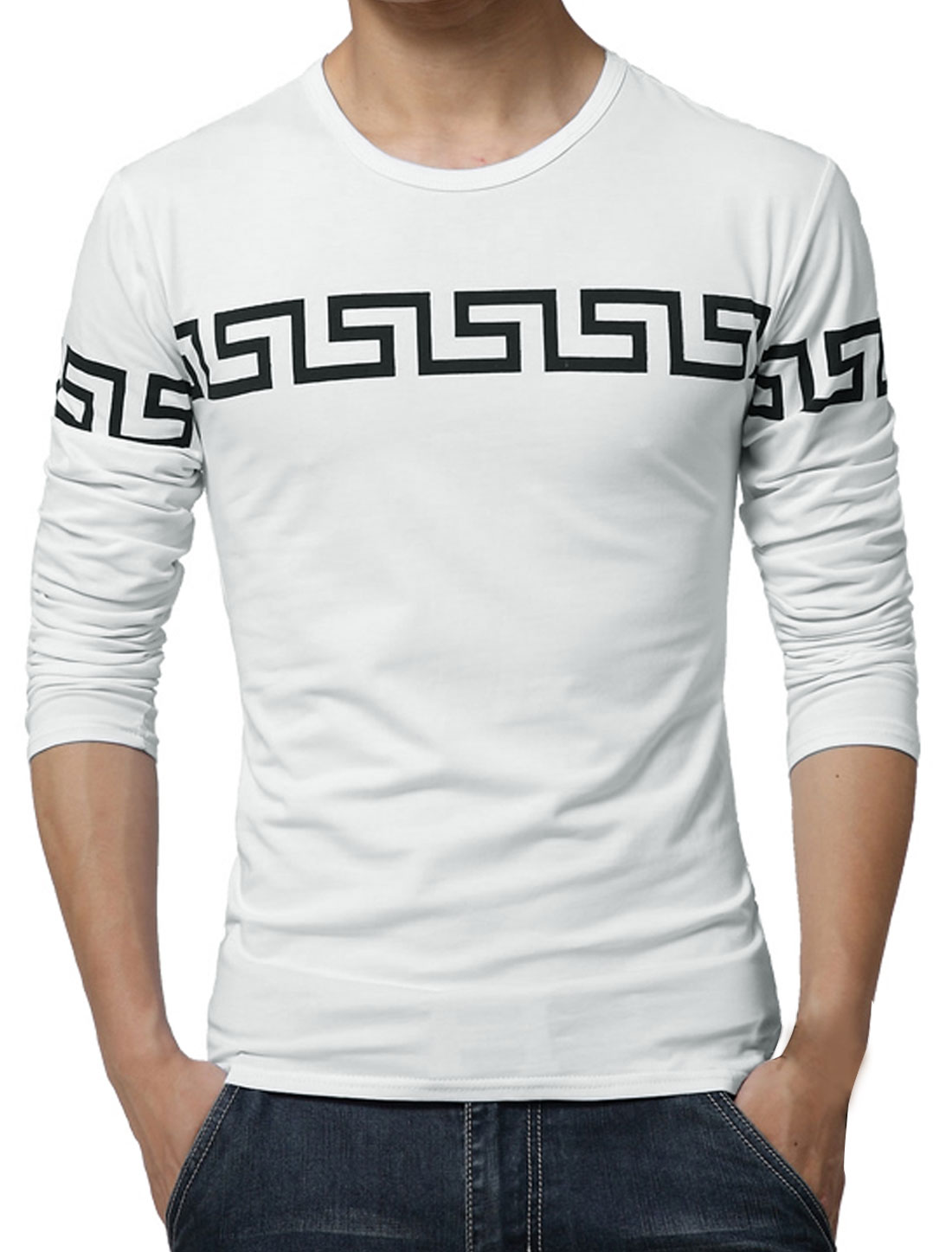 Men Long Sleeves Geometric Slim Fit Tee Shirt White S