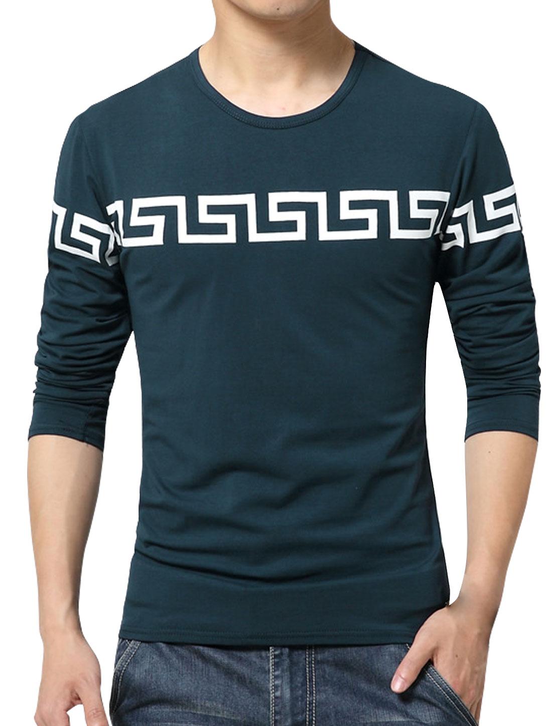 Men Long Sleeves Geometric Slim Fit Tee Shirt Blue S