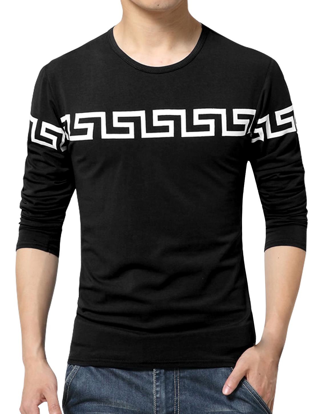 Men Long Sleeves Geometric Slim Fit Tee Shirt Black S