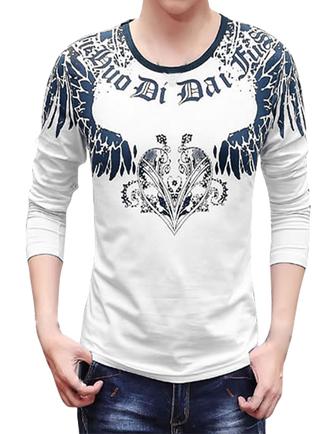 Men Long Sleeves Novelty Slim Fit Tee Shirt White S