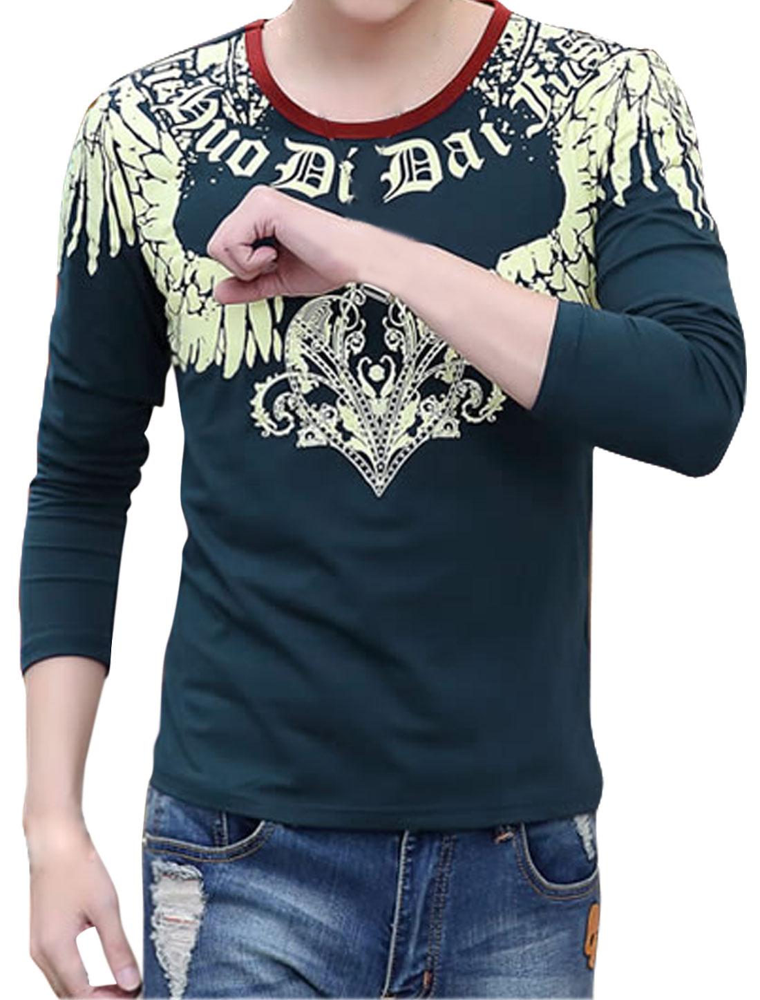 Men Long Sleeves Novelty Slim Fit Tee Shirt Blue S