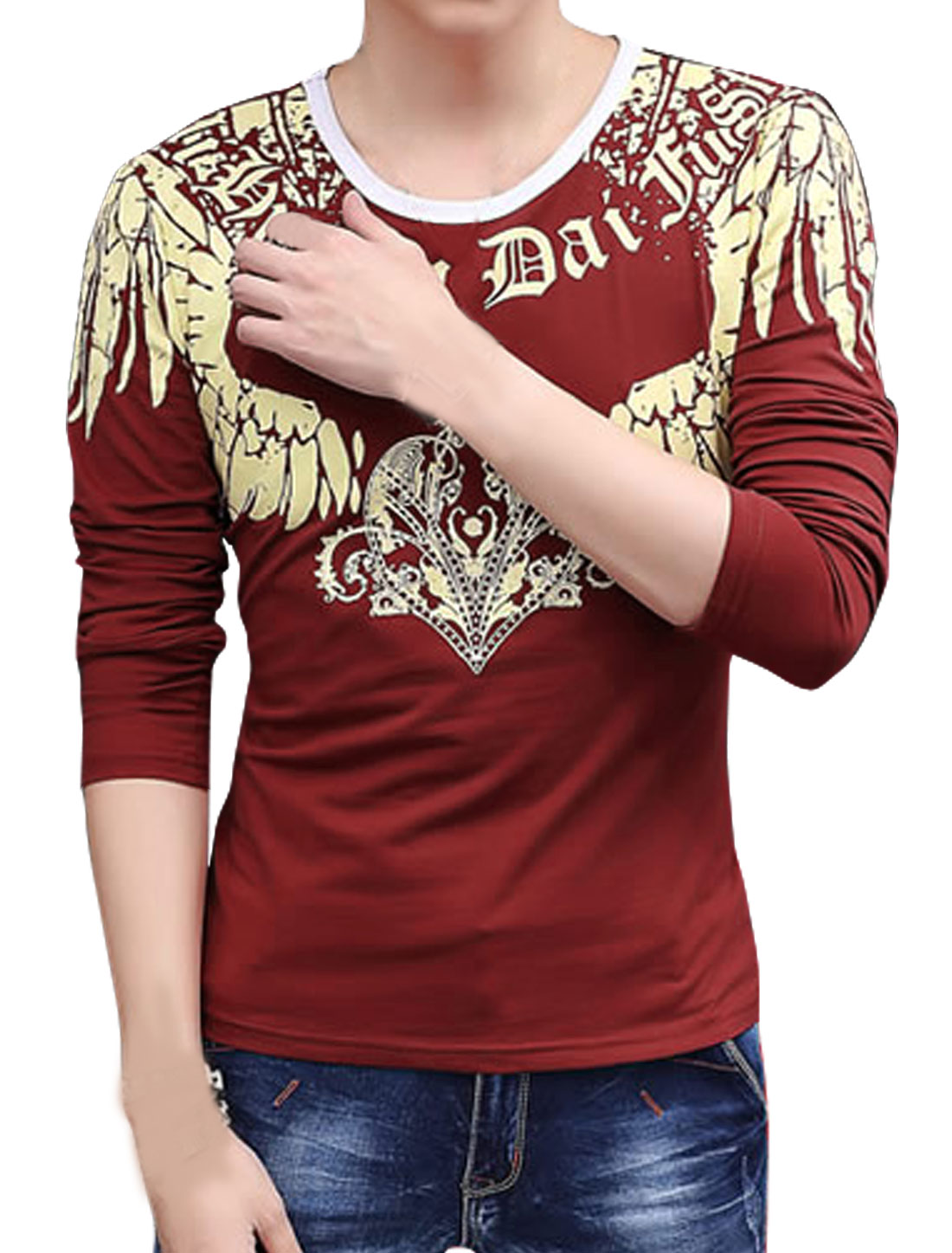 Men Long Sleeves Novelty Slim Fit Tee Shirt Red S